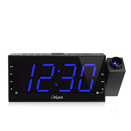 OnLyee Projection Ceiling Wall Clock, AM FM Radio Alarm Clock, 7 LED Digital Desk/Shelf Clock with Dimmer, USB Charging, AC Powered and Battery Backup for Bedroom, Kitchen, Kids
