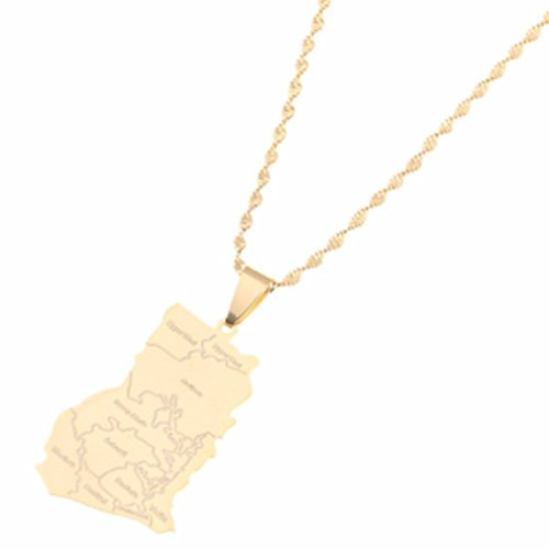 AccessCube Unisex Country Map Flag Pendant Necklace Gold Silver Color Charm Maps Jewelry (Ghana/Gold) - Ghana Flag Colors