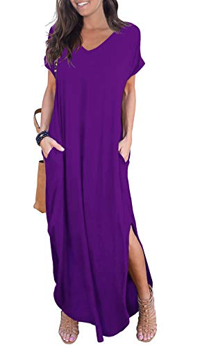 GRECERELLE Womens Casual V Neck Side Split Beach Long Maxi Dress Purple 2XL