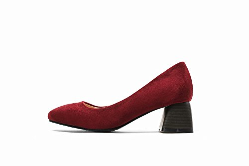 Carolbar Women's Solid Color Concise Mid Heel Square Toe Court Shoes Wine Red Ytkaw