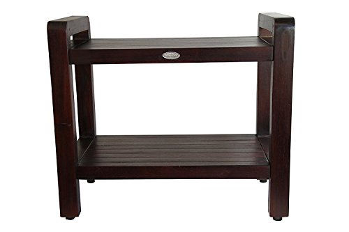 ALA TEAK Teak Wood Shower Bath Spa Waterproof Bench Stool 20 with shelf and Lift Aide Arms Dark (Wood Arms Benches)