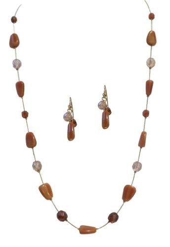 [Handmade Jewelry Czech Glass and Crystal Statement Necklace Set] (Czech Costumes Jewelry)