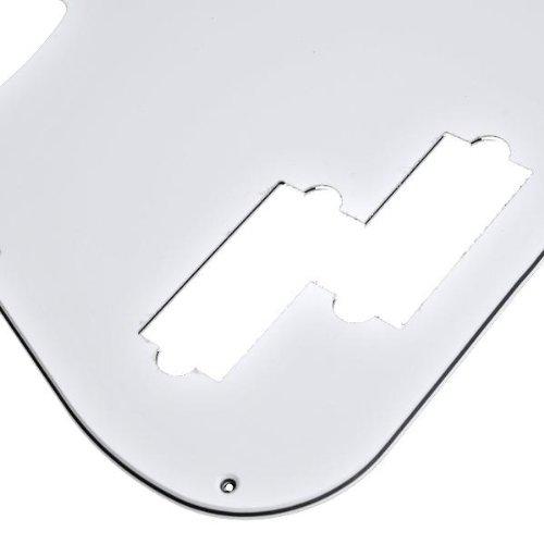 1 Ply White Pickguard (Kmise A2128 1 Piece 3-Ply 11 Hole White Pickguard for P Bass Guitar)
