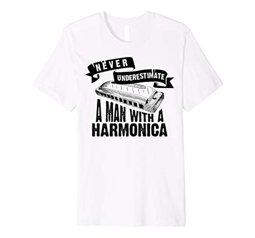 Cute Never Underestimate A Man With A Harmonica Shirt Gift (The Best Harp Player In The World)