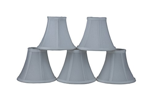 Set of 5 Off White Chandelier Shade, 6-inch Bottom Diameter, 5-inch Height, Faux Silk, Bell Shape, Clip on ()