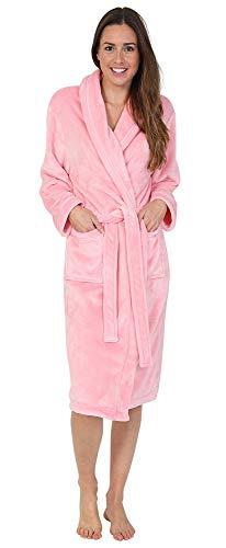 Florentina Women's Soft Fleece Robe, Shawl Collar, Pink with Ribbon Detail (M)