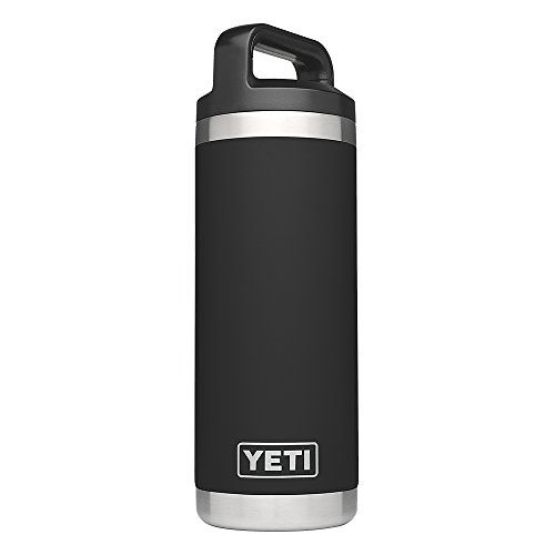 YETI Rambler 18oz Vacuum Insulated Stainless Steel Bottle with Cap, Black DuraCoat ()