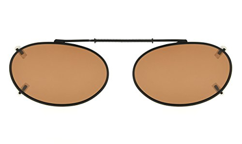 (Oval Frame Rim Polarized Lens Clip On Sunglasses 50mm Wide x 31mm Height Millimeters)