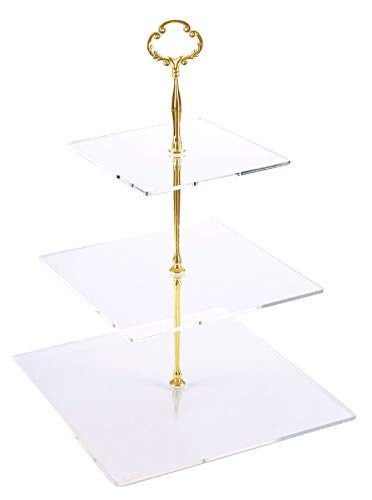 - Jusalpha 3 Tier Acrylic Square Cupcake Stand, Dessert Display Tower (Gold Version 2, 1) 3SG-V2