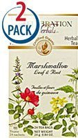 Celebration Herbals Organic Marshmallow Leaf and Root Tea Caffeine Free -- 24 Tea Bags Each / Pack of 2