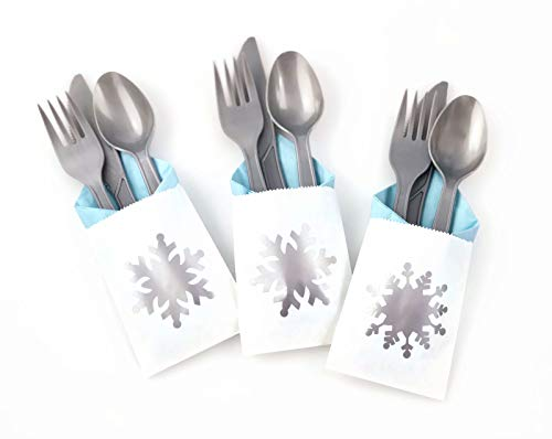 Snowflake Party Cutlery - 24 Set for Baby Shower or Winter Onederland Birthday -