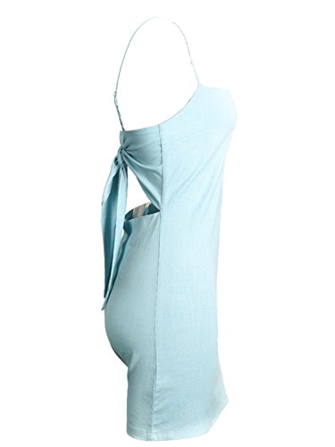 Light Mini Womnen's Bodycon Plain Hollow Summer Blue Simplee Casual Strap Out Dress vqwAF