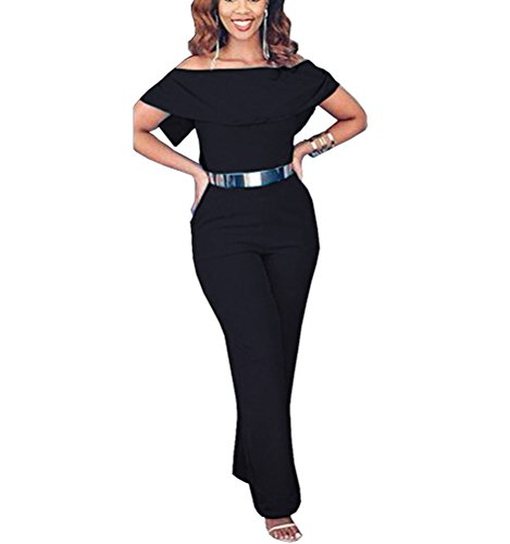 Tuesdays Womens Sexy Off Shoulder High Waisted Long Jumpsuits Rompers Plus Size (XXL, Black) (Sexy Pants Suits)