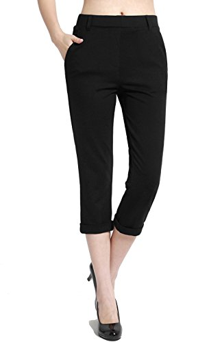 BodiLove Women's Pull On Performance Formal Dress Capri Pants Black - Pants Cropped Dress