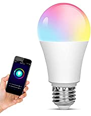 WiFi LED Light, Smart Bulb, Sunrise and Sunset-dimmable, RGB Multi-Color, Warm White (Color-Changing Disco Ball Light)-9W A19 E27, Compatible with Alexa, Google Home and IFTTT