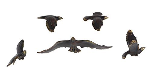 Deco 79 48044 Brown Eagles in Flight Wall Decor (Set of 5), Gold