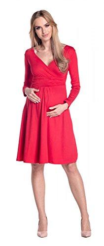 Happy Mama. Mujer Maternidad Jersey Vestido Largo Mangas Bebé Ducha. 890p (Rojo, EU 42, XL)