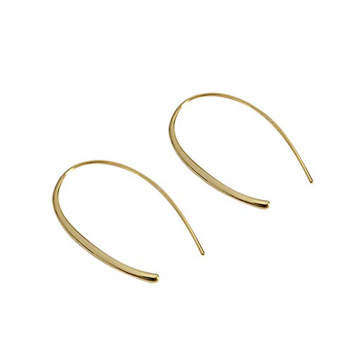 Upside Down Hoop Earrings for Women Girls S925 Sterling Silver Lightweight Open Wire Needle Drop Dangle Threader Earring Hypoallergenic Jewelry Personalized Gifts (Gold Plated)