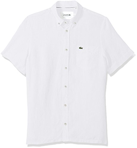 Lacoste Men's Short Sleeve Solid Linen Button Down Collar Reg Fit Woven Shirt, White, Small ()