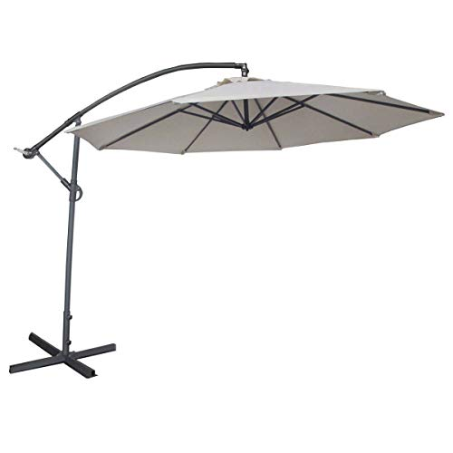 Abba Patio 10ft Offset Hanging Patio Umbrella with Cross Base