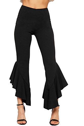 Bas Ébouriffer Étendue Asymétrique Évasée Ourlet Pantalon Wearall Plaine Noir 34 Femmes Volant 42 Dames YTZ8w