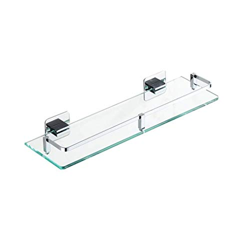 NYDZDM Tempered Glass Shelf, Punch-Free Bathroom Shower Rack, Brass Cosmetics Rack, Mirror Front Shelf 6 Size (Size : 61cm/24'')