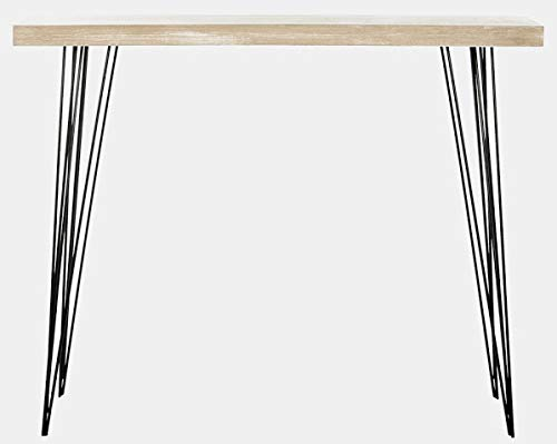 Wood and Metal Console Table - Ash Veneer Console Table with Hairpin Style Legs - Light Gray