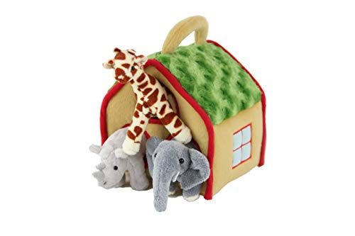 (Nappy Animal Doll House - Tiger, Leopard, Lion, Giraffee, Rhino, Elephant, Plush House, Stuffed Animal Toy Set (Herbivore))