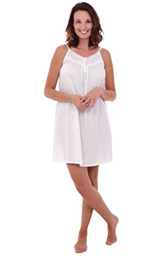 Alexander Del Rossa Womens Priscilla Cotton Nightgown, Sleeveless Victorian Sleepwear, Large White (A0527WHTLG) ()