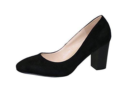 Women's Sexy Genuine Pointed Toe Chunky High Heel Dress Pump Shoes Black Velveteen RKb8U