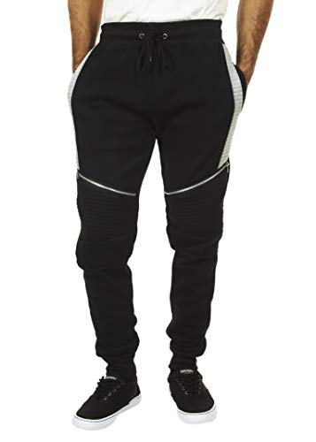 Encrypted Moto Men s Tapered Joggers with Pockets Men s Athleisure Pants X Large Black
