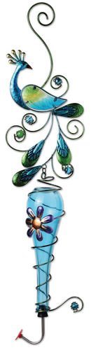 (Sunset Vista Designs Colored Glass and Metal Hanging Hummingbird Feeder, Peacock)
