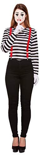 Ladies Striped French Mime Artist Circus Halloween Carnival Fancy Dress Costume Outfit UK 8-12 -