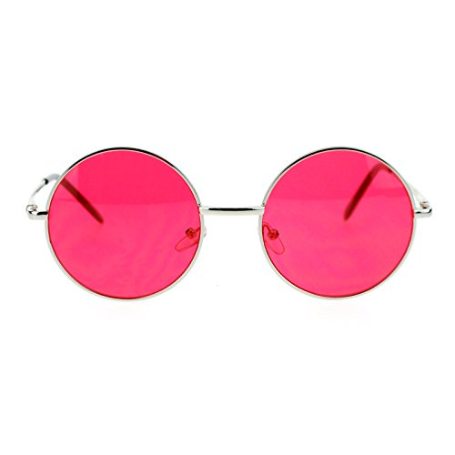 Color Lens Retro Vintage Style Round Circle Hippie Groovy Sunglasses - Circle Sunglasses Guys For