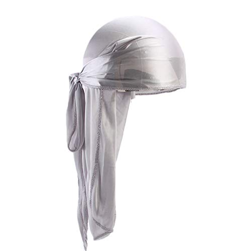 - Men/Women Bandana Hat Silky Soft Durag with Extra Long Tail Pirate Hat Chemotherapy Hat Headwear (Silver)