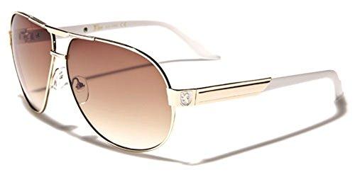 Premium Men's Fashion Aviator Retro 80's - Sunglasses And White Gold