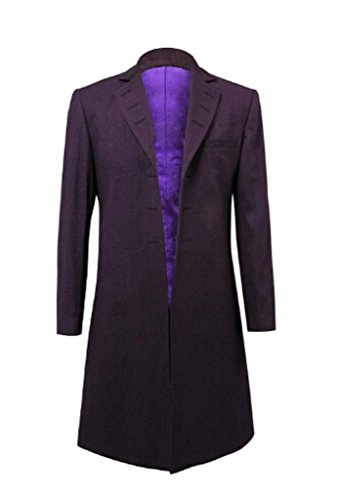 Cos-me Doctor Who Cosplay Costume Eleventh Dr. 11th Purple Coat Jacket Male-L]()