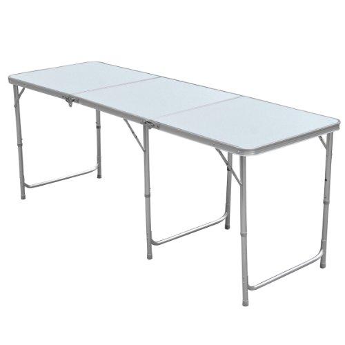 Yahee Falttisch Campingtisch (180x 60cm) höhenverstellbar Tisch 55cm-62cm-70cm (White)