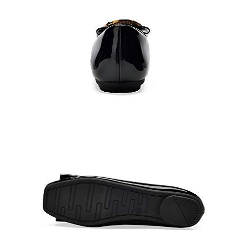 Casual black Quadrata Per 37 Metallo Aiutare Temperamento Basse In Scarpe Bassa Pelle Testa Strass Della Signore Donna Willsky Cintura Vernice Black Autunno Da Moda Fibbia f01vxBwq