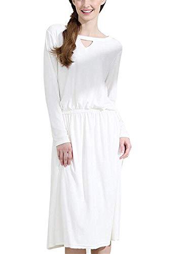 De Pijama Blanco Las Dormir Cómoda Camisón Flojo Otoño Colour Negligee Manga Primavera Larga Ropa Clásico Mujeres dq4PwPA6S