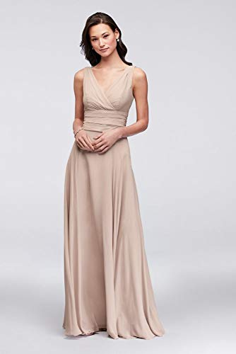 Surplice Tank Long Chiffon Bridesmaid Dress Style F19831, Biscotti, 8