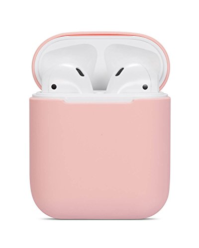 Airpods Case Soft Silicon Skin and Cover with Utral Slim 0.8mm Compatible Apple Airpods Charging Case - Barbie Pink