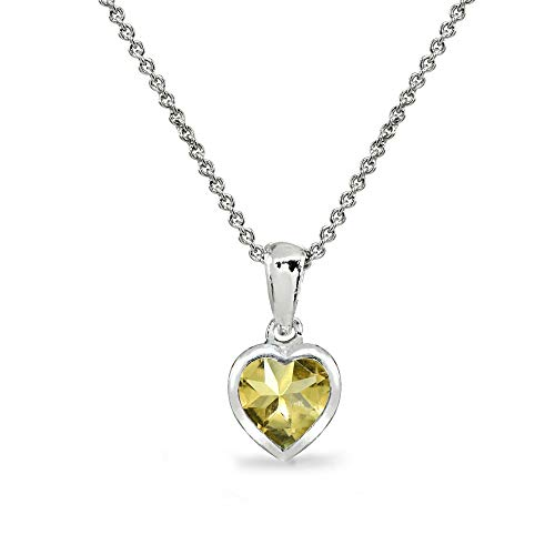 (Sterling Silver Citrine 7mm Heart Bezel-Set Solitaire Dainty Pendant Necklace for Women Teen Girls)