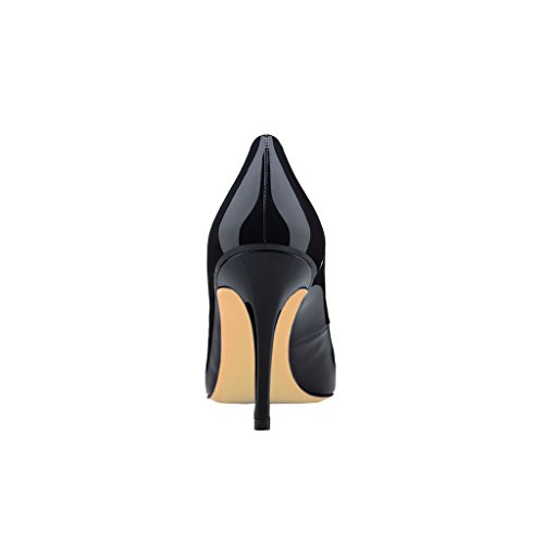 EKS Damen Mid-Heel Classic Slip On Kleid Pumpen Absatz Schuhe Schwarz-Lackleder