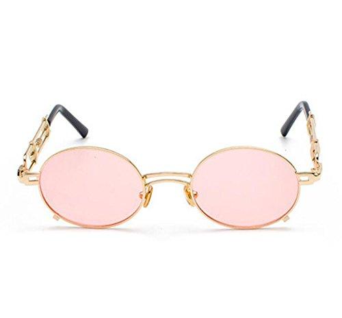 Doré polarisé lunettes de en Non soleil Fashion métal Steampunk Vintage Rose Classique Keephen ovales q7wYaw