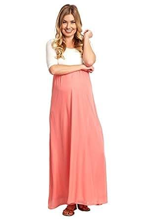 PinkBlush Maternity Coral Chiffon Colorblock Maternity Maxi Dress, Small