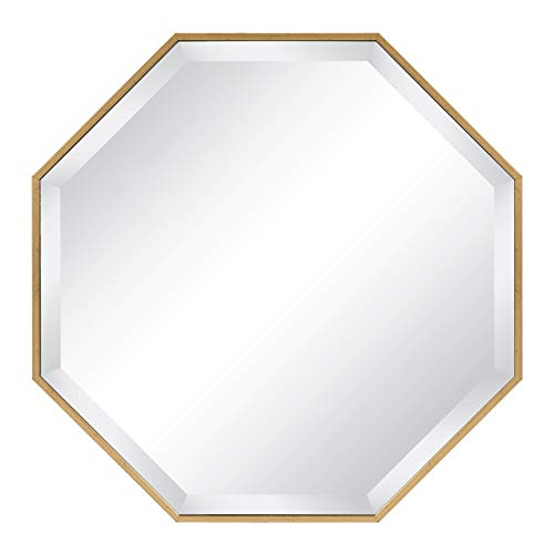Kate and Laurel Rhodes Octagon Framed Wall Mirror, Gold, - Gold And Bathroom Silver Mirrors