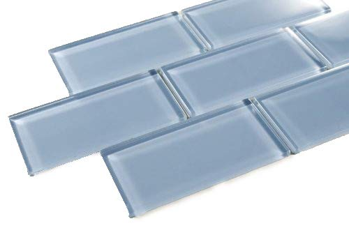 (Pacific Ocean - 3x6 Blue Glass Tile Mosaic - Bathroom Tile & Kitchen Backsplash Tile (price per square feet, 8 pieces))