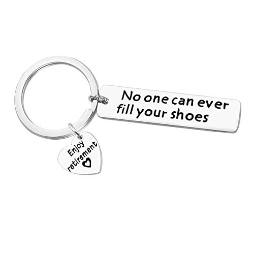 Retirement Keychain Gifts for Coworker No One Can Ever Fill Your Shoes Keychain Enjoy Retirement Gift for Coworker Staff Boss Dad Farewell Gifts Coworker Goodbye Gifts Coworker leaving Gifts