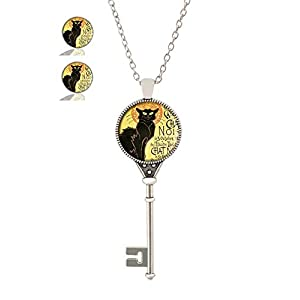 Youroom Custom Fashion Retro Key Pendant Necklace Stud Earring Jewelry Glass Necklace Set